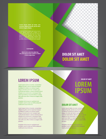 magazine template: Vector empty bifold brochure print template design with green violet elements