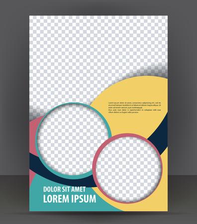 Magazine, dépliant, brochure, couverture mise en page modèle de conception d'impression, coloré vecteur Illustration avec des cercles Banque d'images - 46566607