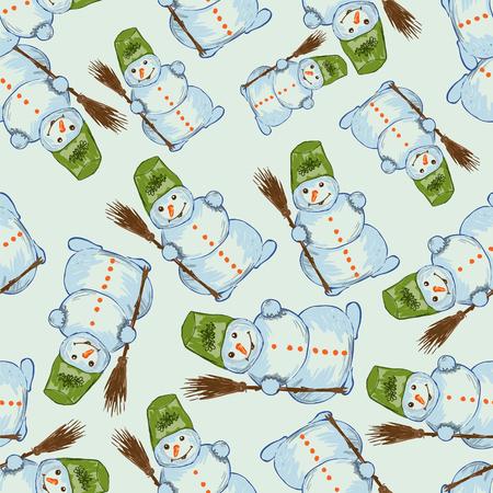 seamless: Vector seamless snowman background