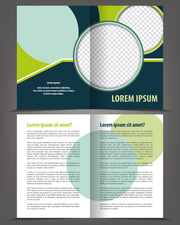 bifold: Vector empty bi-fold brochure print template design with blue and green elements Illustration