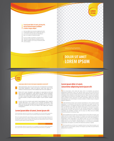 flyer design: Vector empty brochure template design with orange and yellow elements