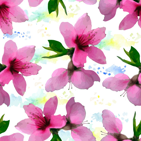 Vector seamless bright cherry blossom pattern, floral sakura ornament, fashion print for fabric, small pink watercolor aquarelle spotted flowers
