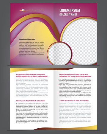 portadas de libros: Vector vacío de doble hoja diseño de la plantilla de impresión folleto con elementos violetas
