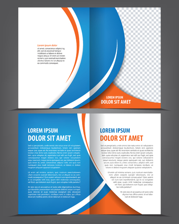 Vector empty bi-fold brochure print template design with blue elements Çizim