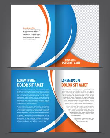 folleto: Vector vac�o de dise�o plantilla de folleto de impresi�n de doble hoja con elementos azules
