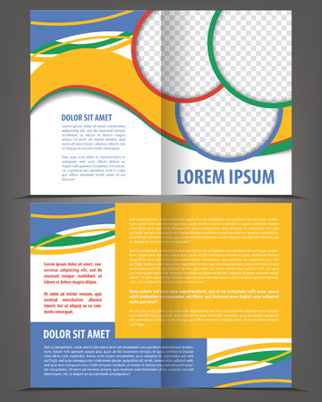 bifold: Vector empty bi-fold brochure print template design with pastel elements