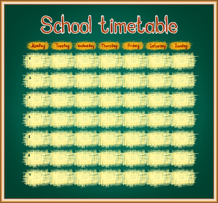 classes schedule: School timetable on blackboard. Vector background