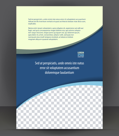 Magazine, flyer, brochure, cover layout design print template, blue vector Illustration Çizim