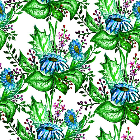 abloom: Vector seamless bright chamomile blossom pattern, floral spring branch ornament, fashion print for fabric, small watercolor pencil drawing flowers Illustration