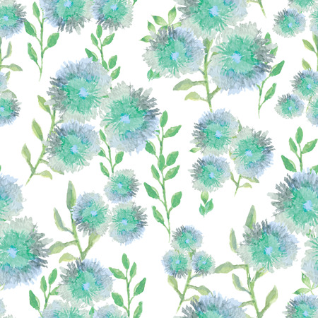 aquarelle: Watercolor vector seamless pattern with small flowers, bright floral aquarelle background