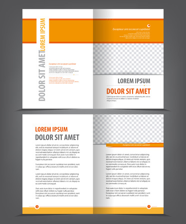 bifold: Empty bifold brochure print template orange design, vector background Illustration