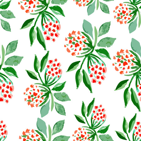 floral vectors: Vector watercolor seamless bright blossom pattern, floral spring branch ornament, fashion print for fabric, small watercolor pencil drawing flowers