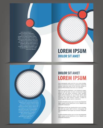 bifold: Vector empty bi-fold brochure print template design with blue elements Illustration