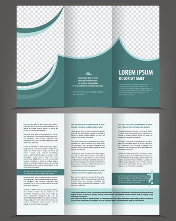 Vector empty trifold brochure print template design with blue and celadon elements Illustration