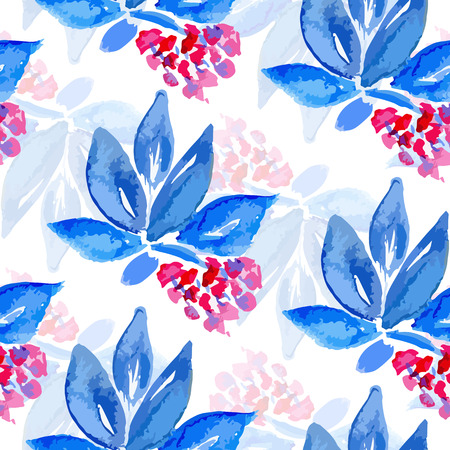 abloom: Vector watercolor seamless bright blossom pattern, floral spring branch ornament, fashion print for fabric, watercolor pencil drawing flowers