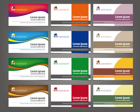 Set of 12 professional and designer horizontal business cards or visiting cards Çizim