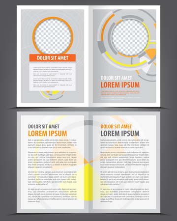 book pages: Empty bifold brochure print template orange design, vector background Illustration