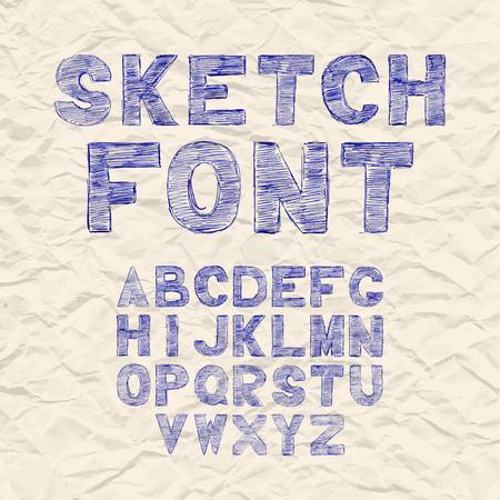 alphabetic: Hand drawing sketch vector alphabet, black white handwritten font. Uppercase type letters