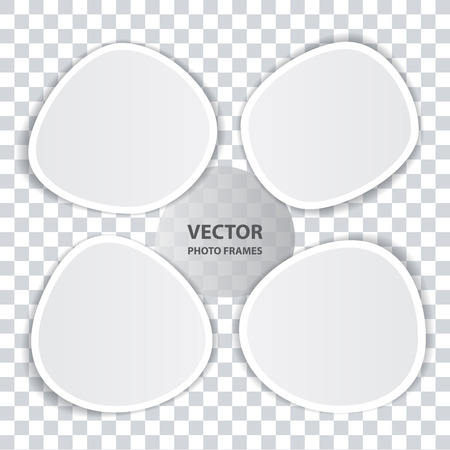 photoframe: Set of blank vector white photo frames with transparent shadow for realistic album