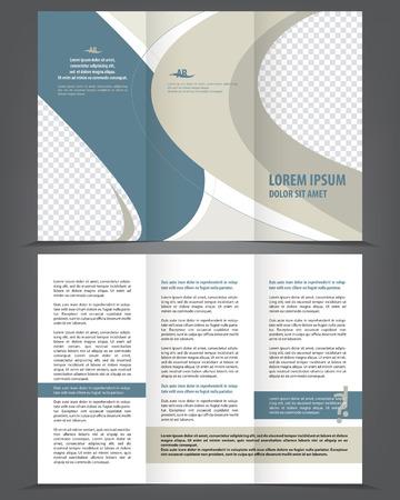 brochure: Vector tríptico vacío de diseño plantilla de folleto con elementos azules y naranjas
