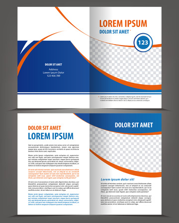 Vector empty bifold brochure print template design with blue elements