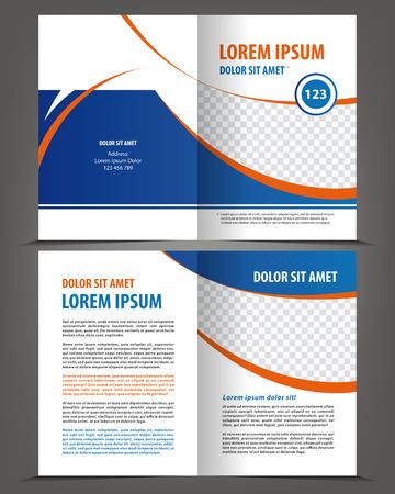 Vector lege tweevoudig brochure afdruksjabloon ontwerp met blauwe elementen