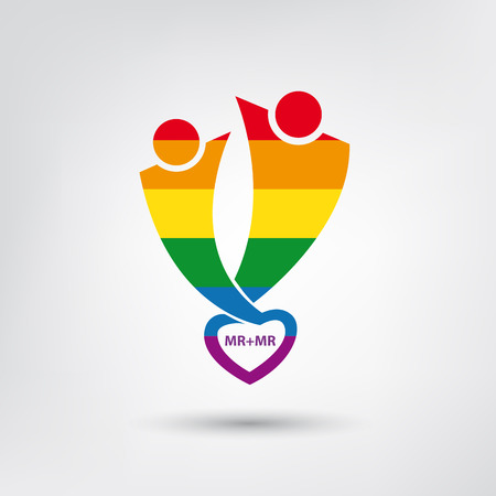 gay symbol: Vector lgbt flag, gay love symbol with heart, homosexual couple