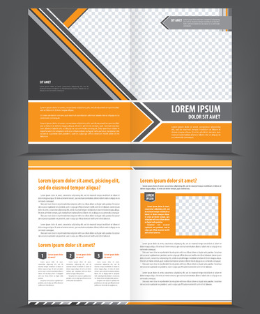 magazine page: Vector empty bifold brochure template design with orange and gray elements Illustration
