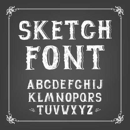 white chalk: Chalk hand drawing sketch vector alphabet, black white font on blackboard, uppercase type letters