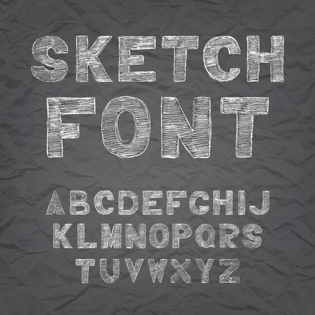 black board: Chalk hand drawing sketch vector alphabet, black white font on blackboard, uppercase type letters