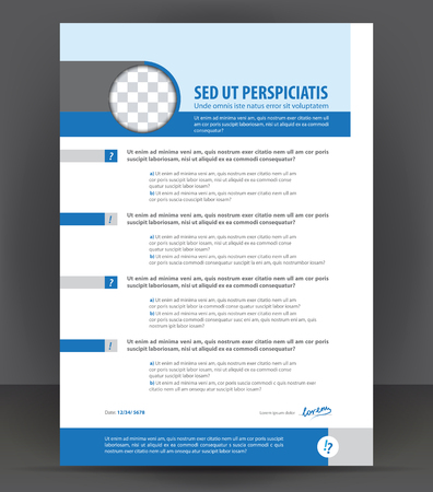 Vector resume print design template, cv blank example, blue gray curriculum vitae