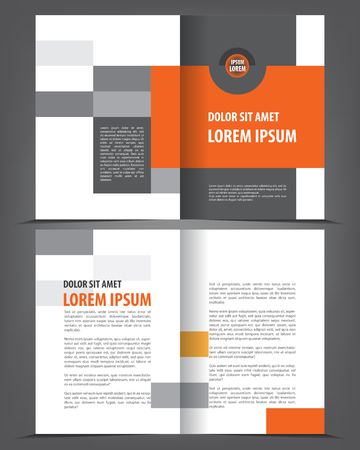 design template: Vector empty bi-fold brochure print template design, newsletter booklet layout