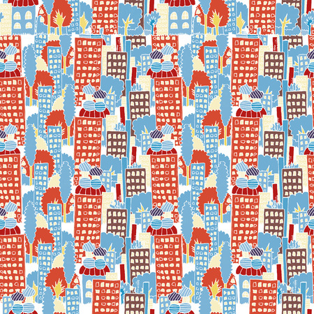 highrises: Vector fabric pattern, city houses seamless childs hand drawing illustration, town endless background. Skyscrapers and high-rises panorama, prospect Illustration