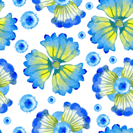 abloom: Vector watercolor seamless bright blossom pattern, floral spring ornament, fashion print for fabric, watercolor pencil drawing flowers