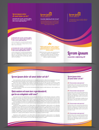 business flyer: Trifold beauty violet brochure print template
