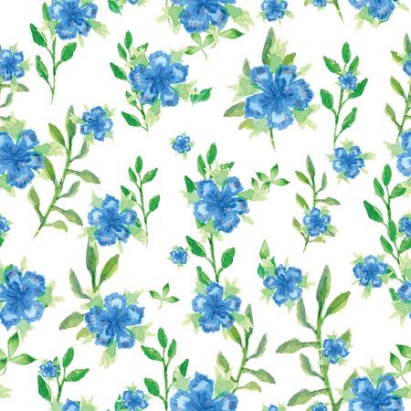 motif floral: vecteur Aquarelle seamless petites fleurs bleues, lumineux aquarelle fond floral