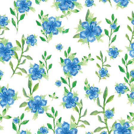 seamless floral pattern: Watercolor vector seamless pattern with small blue flowers, bright floral aquarelle background Illustration