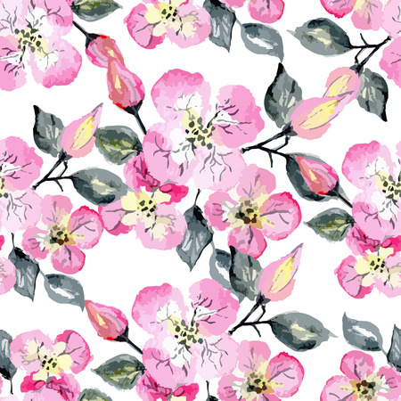 Vector watercolor seamless bright blossom pattern, floral spring branch ornament, fashion print for fabric, big watercolor pencil drawing flowers Vectores