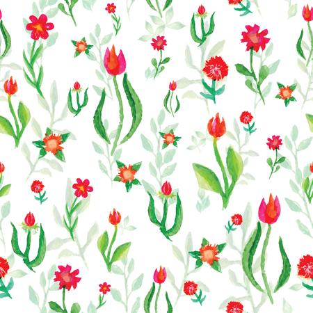 petites fleurs: Vecteur Aquarelle seamless petites fleurs tulipes, fond lumineux aquarelle floral Illustration