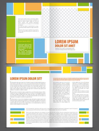magazine template: Vector empty multicolored bifold brochure template design