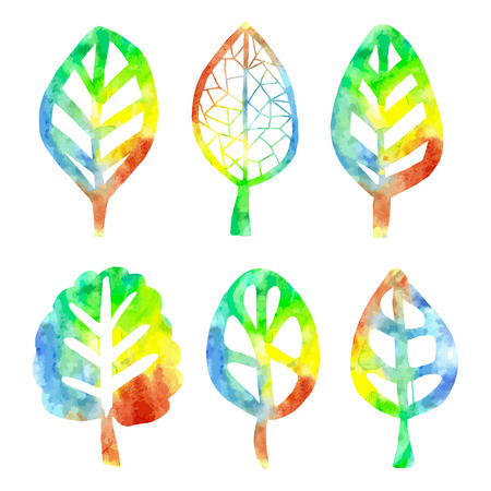 colorific: Watercolor vector bright isolated stylized leaves trees, hand drawn rainbow illustration