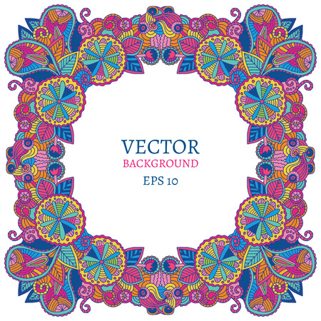 ethnical: Vector ethnic floral ethnical ornament, fashion post card, doodle lace invitation, frame or border