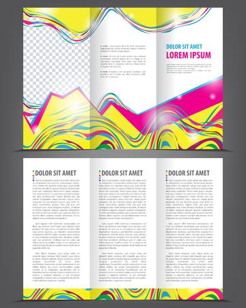threefold: Trifold beauty brochure print template bright design, vector illustration Illustration