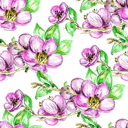 flor de durazno: Modelo inconsútil del vector blanco brillante cereza, flores de primavera sakura sucursal ornamento, impresión de la moda para la tela, pequeñas flores de color rosa de dibujo a lápiz de la acuarela