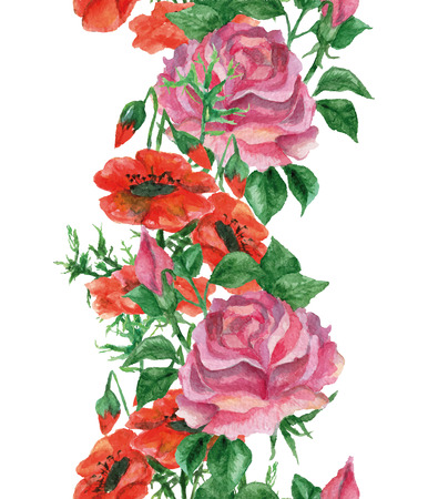 aquarel: Watercolor border frame with roses and poppies on white background, vector seamless aquarelle Illustration