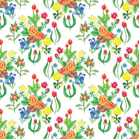 hand painted: Watercolor vector seamless pattern with small flowers, bright floral aquarelle background