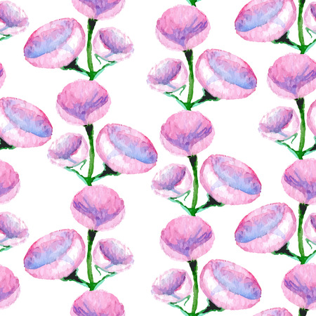 aquarel: Watercolor vector seamless pattern with flowers, bright floral aquarelle endless background, fashion print for fabric