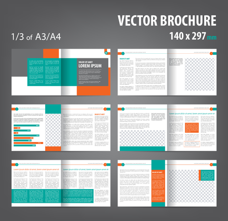 Vector empty bi-fold brochure print template design, bifold bright orange green booklet or flyer, 12 pages Çizim
