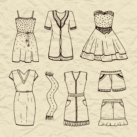 habiliment: Set of vector contour outline dresses, scarf, skirt, shorts. Womens clothing on old crumpled torn paper background Illustration