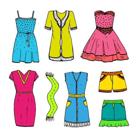 modish: Set of vector outline dresses, scarf, skirt, shorts. Womens bright multicolor clothing